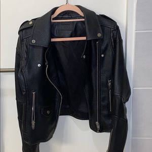 BLANK NYC Leather motto jacket size Small